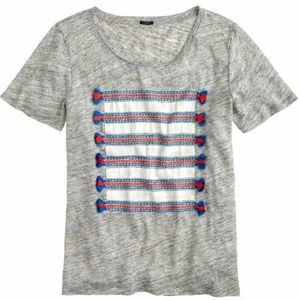 J. Crew Linen Striped Short Sleeve Tee w/ Tassels